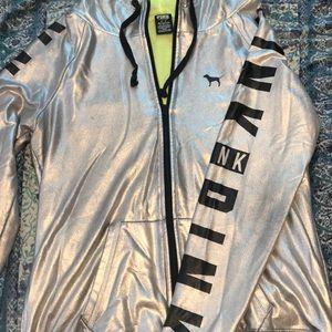 Metallic Silver zip up hoodie
